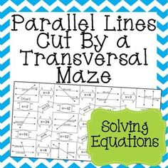 Great practice for my 8th grade Math, Algebra 1, and Geometry students in solving equations to find unknown angle measures in parallel lines cut by a transversal!