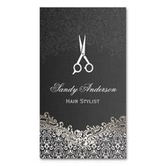 Elegant Dark Silver Damask - Hair Stylist Business Card Template