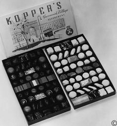 Koppers Chocolate Greenwich Village Assortment, circa the 1950s. Who remembers sneaking a piece of this tasty mix? #tbt #retrocandy #vintageNYC #GreenwichVillage #kopperschocolate #gourmetchocolate