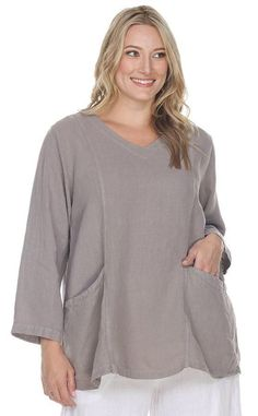 16445caa2e La Fixsun Linen A-line Vertical Seams with Pockets Tunic FBT884