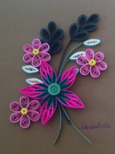Quilling. Pink flowers. By Canan Ersöz.                                                                                                                                                                                 Más