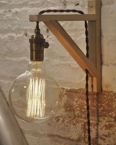 Wooden Wall Lamp - Plug In Wall Lamp - Wall Lamp - Antique Brass Lamp -. Wooden Wall Lamp – Plug In Wall Lamp – Wall Lamp – Antique Brass Lamp – Rustic Lighting – Farmhouse Decor – Hanging Lights Source by Rustic Lamps, Rustic Lighting, Vintage Lighting, Lighting Ideas, Wall Lighting, Industrial Lamps, Bedroom Lighting, Vintage Industrial, Bedroom Wall Lights