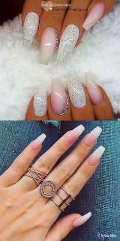 Best Coffin Nails Ideas That Suit Everyone Beautiful Pink and White Ombre Coffin Nails Ideas!Beautiful Pink and White Ombre Coffin Nails Ideas! White Nail Designs, Simple Nail Designs, Acrylic Nail Designs, Nail Art Designs, Nails Design, Cute Acrylic Nails, Matte Nails, Pink Nails, My Nails