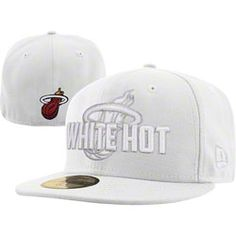 9e858c832c31e NEW ARRIVAL  Miami Heat New Era 59FIFTY NBA White Hot Fitted Hat Florida  Dolphins