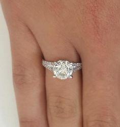 3.9 Round Cut Diamond Engagement Ring Enhanced VS1/D 14K White Gold