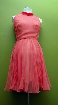 VintagCoral Pink Jack Bryan Accordian Pleated Chiffon Day/Cocktail Dress