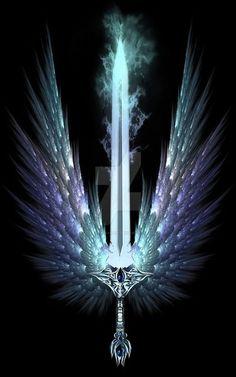 Sword Artwork by TheSwanMaideN on DeviantArt Ninja Weapons, Anime Weapons, Swords And Daggers, Knives And Swords, Cool Swords, Fantasy Sword, Sword Design, Weapon Concept Art, Dark Fantasy Art