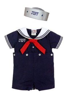 BABY BOYS SAILOR SUIT OUTFIT NAUTICAL PERSONALIZED  FREE 3 MONTHS TO 4 TODDLER