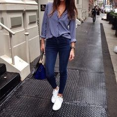 Outfit, blouse, shoes, tennis, Stan smith, jeans, bag More