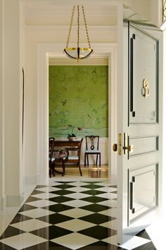 Foyer, Entry, classic, elegant, black and white, green, tile, wallpaper