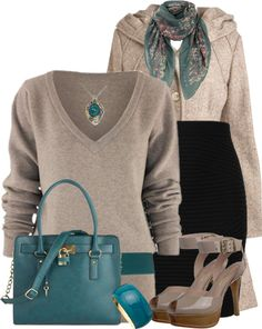 """Teal and Tan"" by lmm2nd on Polyvore"