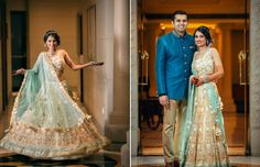 Aqua and Gold Lehenga with a stunning embroidery by Peppermint Diva by Deepali Shah for Real Bride Priyanka Mehra of WeddingSutra.