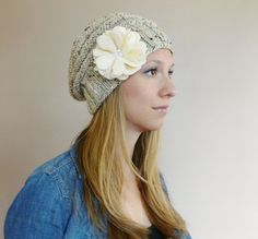 Women's Hand Knit Slouchy Beehive Hat in Oatmeal with Handmade Ivory Felt Flower & Three Pearls Knit Slouchy Beehive Beret Slouchy Knit Hat Slouch Beanie