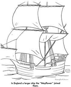 Pilgrims Mayflower coloring pages