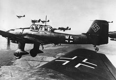 A formation of German Ju 87 Stuka dive bombers are flying over an unknown location, in this May 29, 1940 photo.