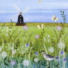 PL-ESK024 Pretty any-occasion greetings card illustrated by Lucy Grossmith with a windmill in a flower meadow