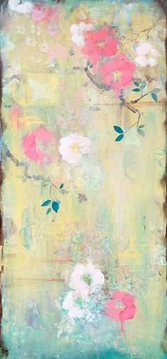 Kathe Fraga Art, www.kathefraga.com Inspired by the romance of vintage French wallpapers and Chinoiserie with a modern twist. 40x16 on frescoed canvas.