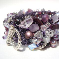 Amethyst Stone Cuff Bracelet February Birthstone by lapisbeach