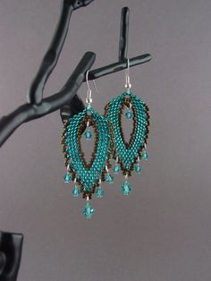 Beadwork Large Russian Leaf EarringsTeal and by MoonWillowJewelry