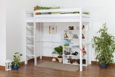 Etagenbett Rutsche Weiss : Kinderbett etagenbett pauli buche vollholz massiv weiß lackiert mit