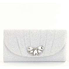 Kate Landry Glitter Mesh Flap Brooch Clutch (225 SAR) ❤ liked on Polyvore featuring bags, handbags, clutches, white clutches, glitter clutches, glitter handbag, mesh handbag and kate landry handbags
