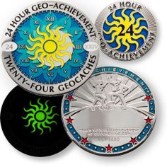 24 Hours 24 Caches GeoAchievement set by GeoCachingOutlet on Etsy, $16.99