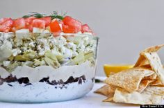 GREEK 7 layer dip. Doesn't this look delicious? It would be perfect with steaming hot homemade pita!