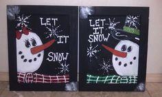 Big canvas painted snowman couple. $48.00, via Etsy.