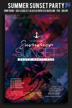 Summer Sunset #Party #Flyer - Clubs & Parties Events Download Here: https://graphicriver.net/item/summer-sunset-party-flyer/19620678?ref=suz_562geid