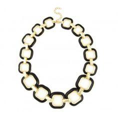 Enamel Chain Link Necklace  - Black