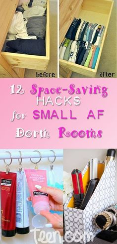 Let's face it — no matter how nice a dorm room is, they're always seriously tiny, which means you have to come up with creative ways to make the most of what you're given. Thought you'd have to sacrifice some of your favorite shoes or leave behind your lucky shirt? Think again — follow these space-saving hacks and you'll be the QUEEN of your floor.