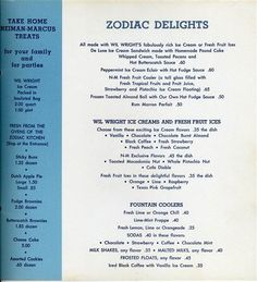 What was on the dessert menu at Neiman Marcus' Zodiac Room in the 1950s.