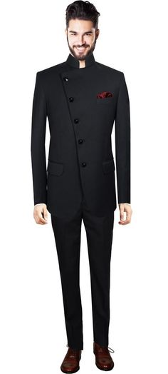 Nehru suit for men online,Black custom suits for men. This is an awesome style of suit. Indian Men Fashion, Mens Fashion Suits, Mens Suits, Fashion Outfits, Marriage Suits, Achkan, Indian Groom Wear, Style Masculin, Designer Suits For Men