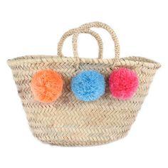 bohemia design, Market Pom Pom basket ORANGE / BLUE / PINK - Sunday in color