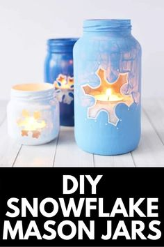 A beautiful and affordable Christmas gift idea, these DIY Snowflake Mason Jars are easy to create and look great in a low-light hallway, on the dinner table, or in a cozy living room! Get the full tutorial at MomDot.com!