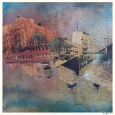 "Signed fine art reproduction of the original mixed media painting ""Manhattan"" by Liz Brizzi"