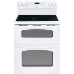 30 in. Double Oven Electric Range with Self-Cleaning Convection Oven in White Double Oven Electric Range, Dual Oven, Electric Wall Oven, Double Ovens, Kitchen Gadgets, Kitchen Appliances, Kitchen Reno, Kitchens, Ranger