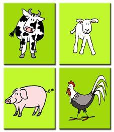 Vierluik op canvasdoek met boerderijdieren