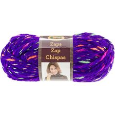 ZAPS- SONIC PURPLE - A super-bulky yarn, which combines a 2 ply strand of a solid color, with a strand of a contrasting, color changing yarn. Zaps produces a lightweight fabric with surprising pops of color.