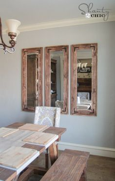 Best Ideas DIY and Crafts Inspiration : Illustration Description DIY Rustic Full Length Mirrors- shanty 2 chic -Read More – Rustic Mirrors, Home Decor Mirrors, Diy Home Decor, 3 Mirror Wall Decor, Mirror House, Vintage Mirrors, Shanty 2 Chic, Rustic Full Length Mirror, Diy Mirror
