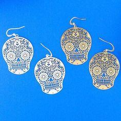 Online Shopping For LAVISHY Unique And Beautiful Filigree Earrings – LAVISHY Boutique Skull Earrings, Filigree Earrings, Gold Plated Earrings, Pendant Earrings, Flower Earrings, Crochet Earrings, How To Make Light, Lead Free, Sugar Skull