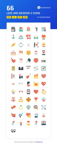 Love And Wedding 3  Icon Pack - 66 Flat Icons