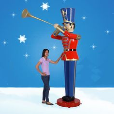 9 ft Toy Soldier with Trumpet-This Giant Christmas Toy Soldier with Trumpet is great...9 foot tall! What a splash he will make in front of your building... $1,699.00