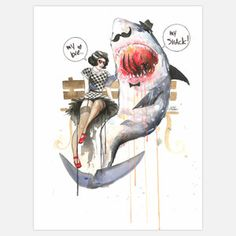 Mr Shark Wall Mural 42x56 now featured on Fab.
