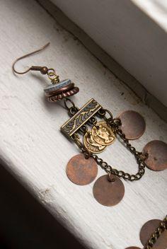 Copper Coin Earrings Antique Gold Copper by inhersummerdress, $18.00