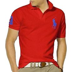 BUY NOW Polo Ralph Lauren Shirt for Men Red with Blue Big Pony Short Sleve (