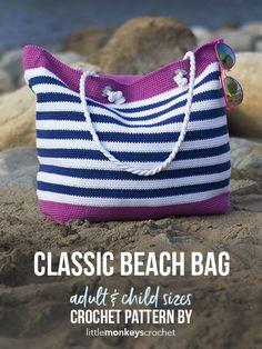 Classic Beach Bag Crochet Pattern | Little Monkeys Crochet | beach tote | 24/7 cotton yarn | free pattern