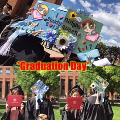 My niece Helen was graduated in OSU yesterday. She will be a graduate student in Columbia University this Sept, a new schoolmate of Obama now. ^_^  Congratulations! We are so proud of you!  I like the cap designing of yours, good girls!!
