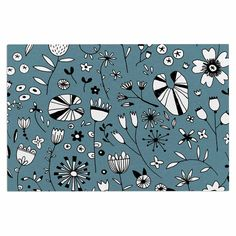 "Nic Squirrell ""Etched Flowers"" Blue White Decorative Door Mat"