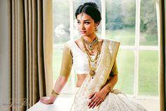 Elegant Tamil Bridal styling with kundan jewellery. Fashion photoshoot for Mayil Creations.